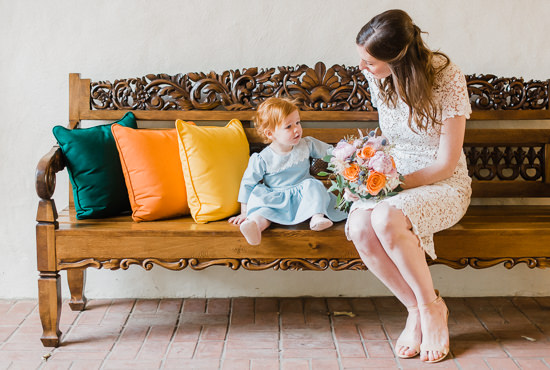 Bride and Flower Girl at Four Seasons Biltmore Wedding in Montecito, California